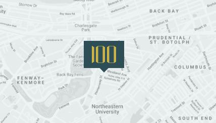 Map showing location of 100 Hemenway in East Fenway Boston